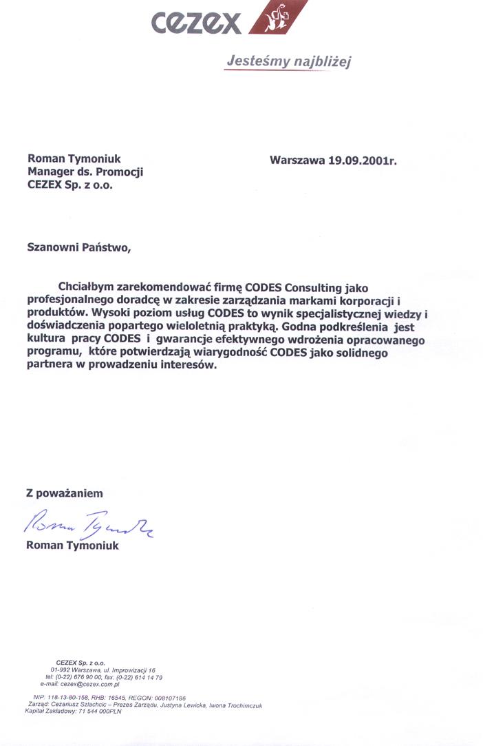 Referencje CEZEX